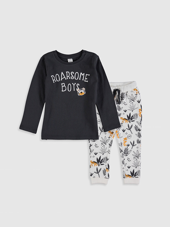 Antrasit Erkek Bebek Baskılı Pamuklu Tişört ve Pantolon 0S1482Z1 LC Waikiki