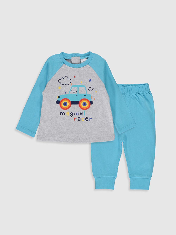 Gri Erkek Bebek Desenli Pijama Takımı 0S1627Z1 LC Waikiki