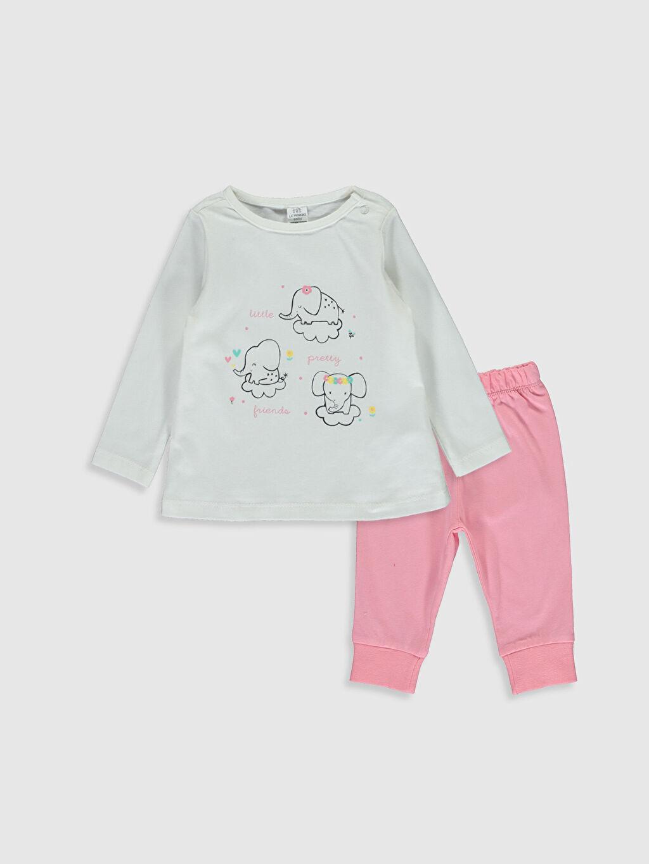 Ekru Kız Bebek Pamuklu Pijama Takımı 0S1657Z1 LC Waikiki