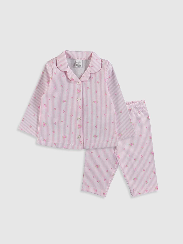 Pembe Kız Bebek Çiçek Desenli Pijama Takımı 0S1818Z1 LC Waikiki