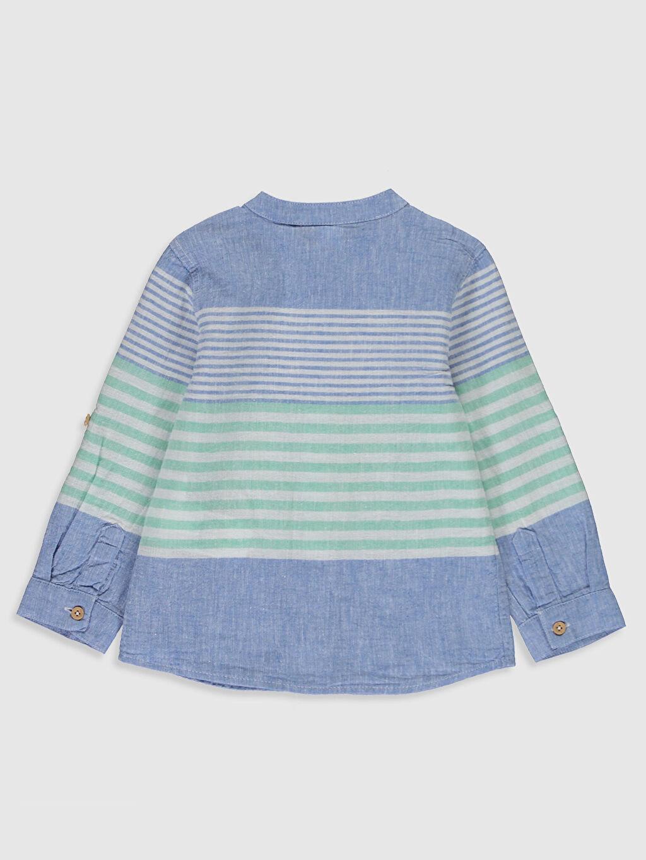 %80 Pamuk %20 Keten Çizgili Standart Uzun Kol Erkek Bebek Çizgili Keten Gömlek