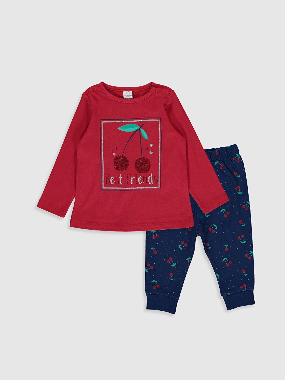Kırmızı Kız Bebek Baskılı Pijama Takımı 0S1959Z1 LC Waikiki