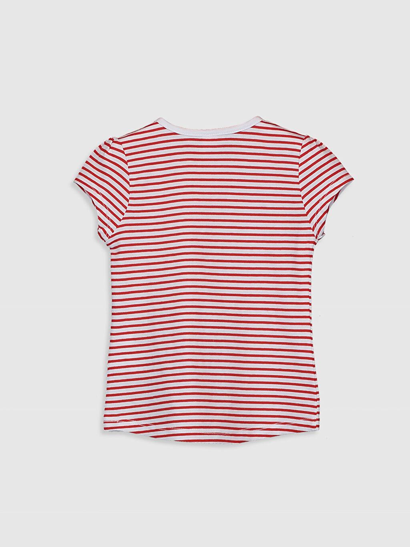 %100 Pamuk Standart Çizgili Kısa Kol Tişört Bisiklet Yaka Kız Bebek Pamuklu Tişört