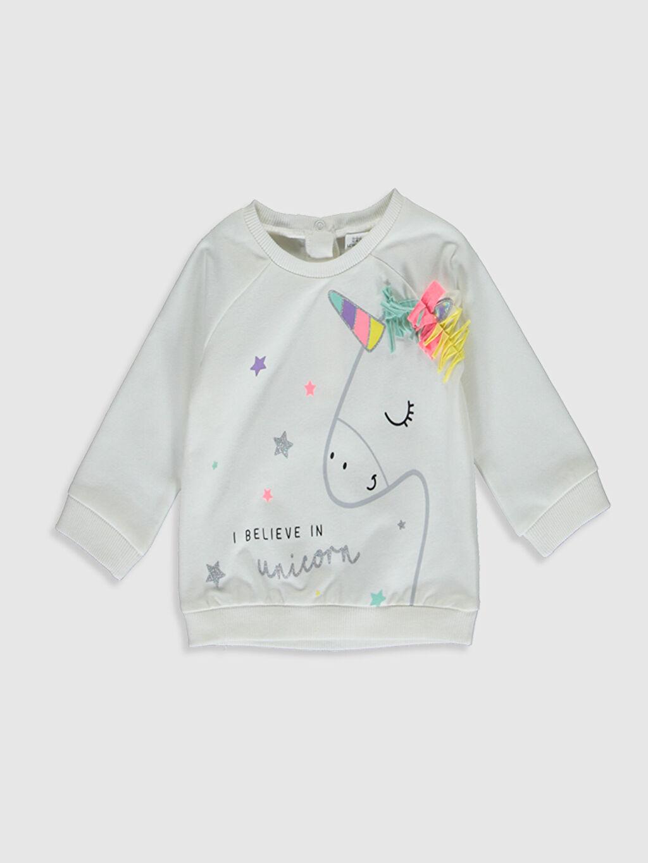 Ekru Kız Bebek Unicorn Baskılı Sweatshirt 0S2222Z1 LC Waikiki