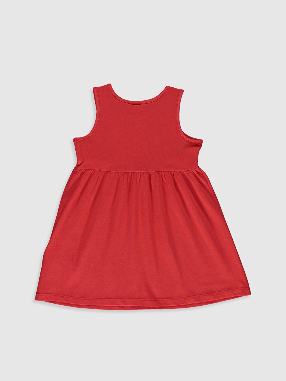 %100 Pamuk Desenli Kız Bebek Minnie Mouse Baskılı Elbise
