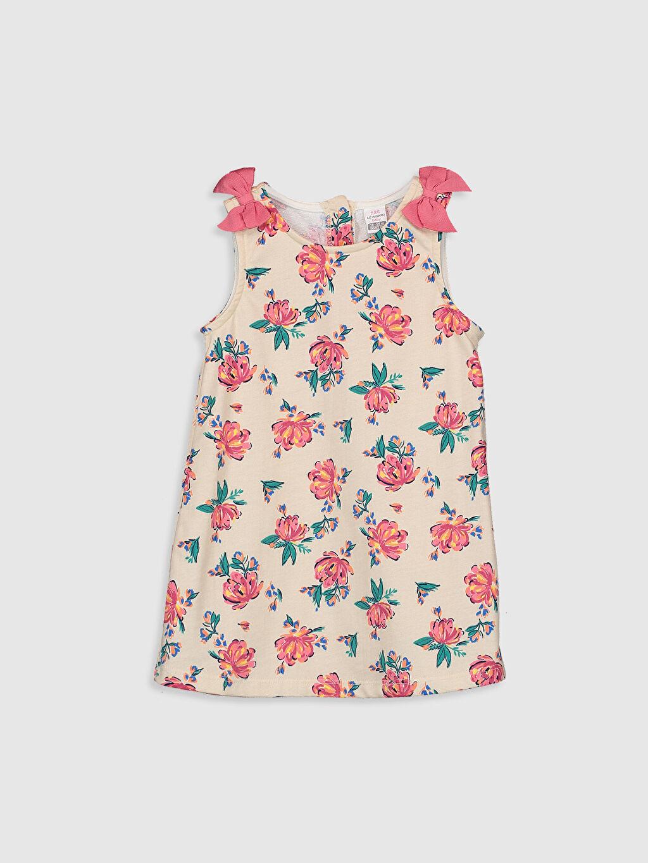 Ekru Kız Bebek Desenli Elbise 0S2471Z1 LC Waikiki