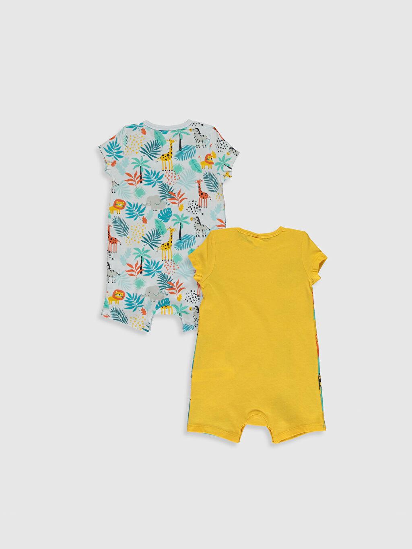 %100 Pamuk Standart Pijamalar Erkek Bebek Desenli Tulum 2'li