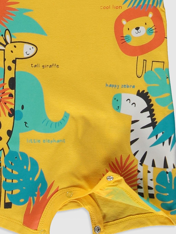 LC Waikiki Sarı Erkek Bebek Desenli Tulum 2'li