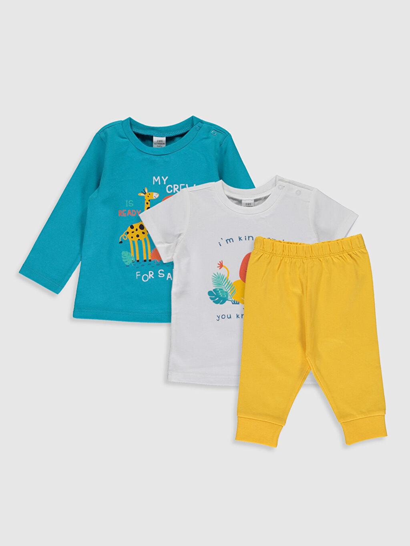 Turkuaz Erkek Bebek Desenli Pijama Takımı 3'lü 0S3218Z1 LC Waikiki