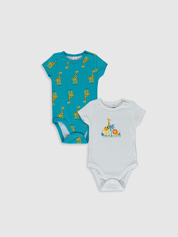 Beyaz Erkek Bebek Desenli Çıtçıtlı Body 2'li 0S3247Z1 LC Waikiki