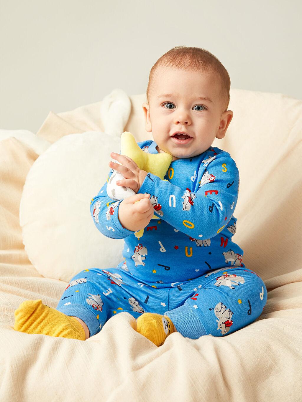 LC Waikiki Mavi Erkek Bebek Desenli Pijama Takımı
