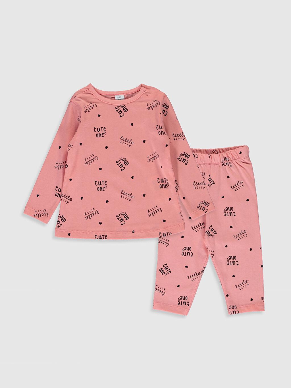 Pembe Kız Bebek Yazı Baskılı Pamuklu Pijama Takımı 0S3261Z1 LC Waikiki