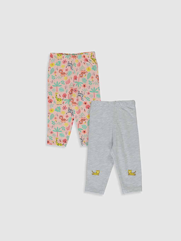 Gri Kız Bebek Desenli Pijama Alt 2'li 0S3269Z1 LC Waikiki
