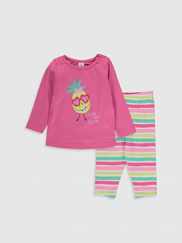 Pembe Kız Bebek Baskılı Pijama Takımı 0S3299Z1 LC Waikiki