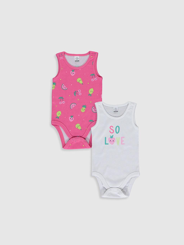 Beyaz Kız Bebek Baskılı Pamuklu Çıtçıtlı Body 2'li 0S3304Z1 LC Waikiki