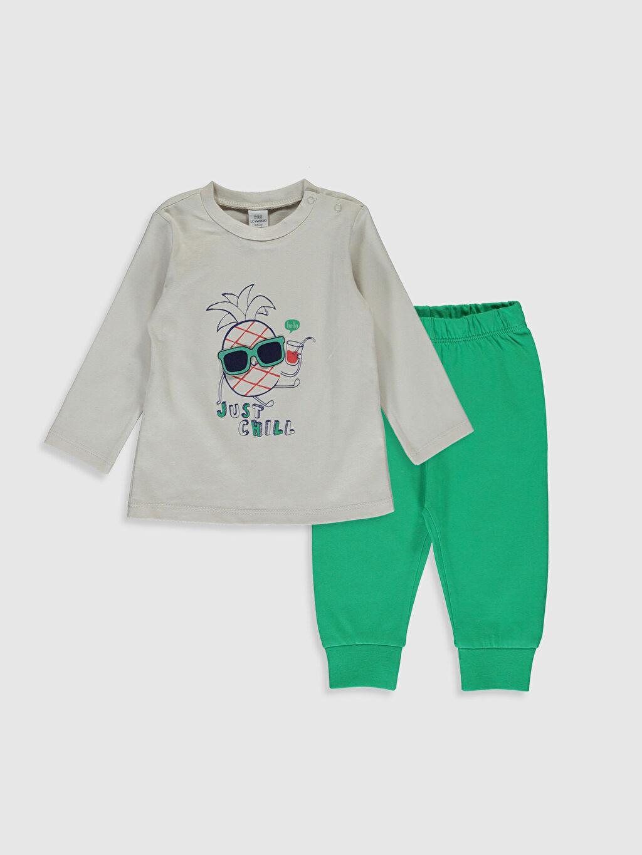 Ekru Erkek Bebek Baskılı Pijama Takım 0S3338Z1 LC Waikiki