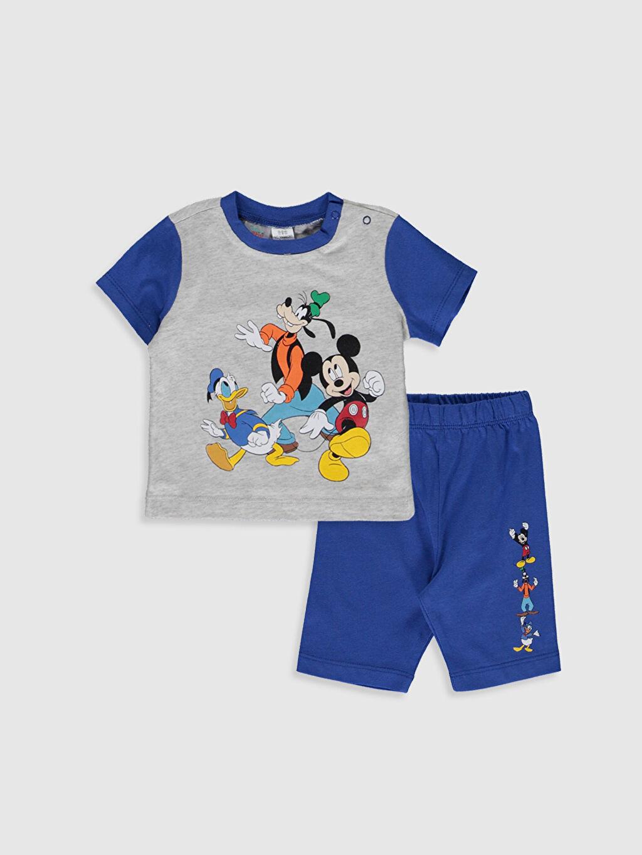 Gri Erkek Bebek Mickey Mouse Baskılı Pijama Takımı 0S3467Z1 LC Waikiki