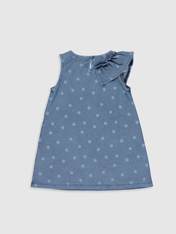 %72 Pamuk %23 Polyester %5 Elastan Desenli Kız Bebek Puantiyeli Jean Elbise