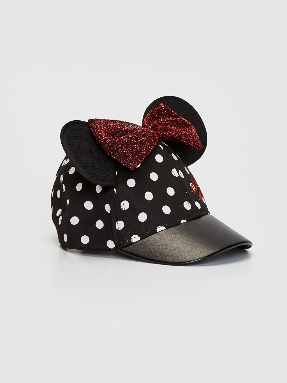 Siyah Kız Bebek Minnie Mouse Baskılı Şapka 0S3761Z1 LC Waikiki