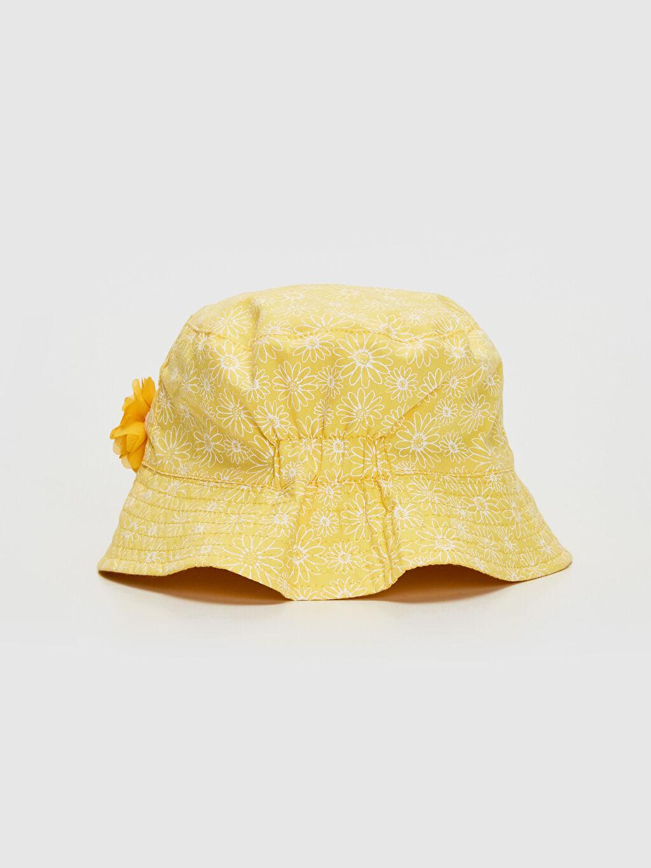 %100 Pamuk %100 Pamuk  Kız Bebek Desenli Kova Şapka