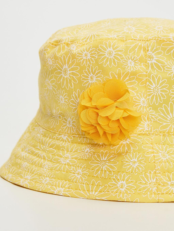 %100 Pamuk Kız Bebek Desenli Kova Şapka