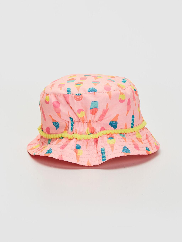 %100 Polyester %100 Pamuk  Kız Bebek Desenli Kova Şapka