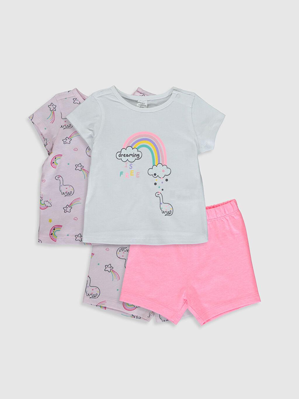 Beyaz Kız Bebek Baskılı Pijama Takımı 4'lü 0S4421Z1 LC Waikiki