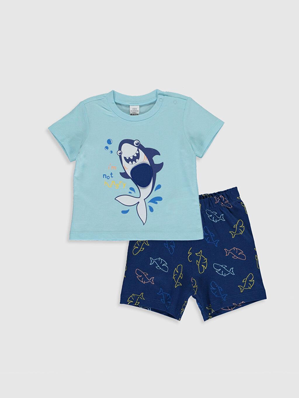 Mavi Erkek Bebek Baskılı Pijama Takımı 0S4564Z1 LC Waikiki