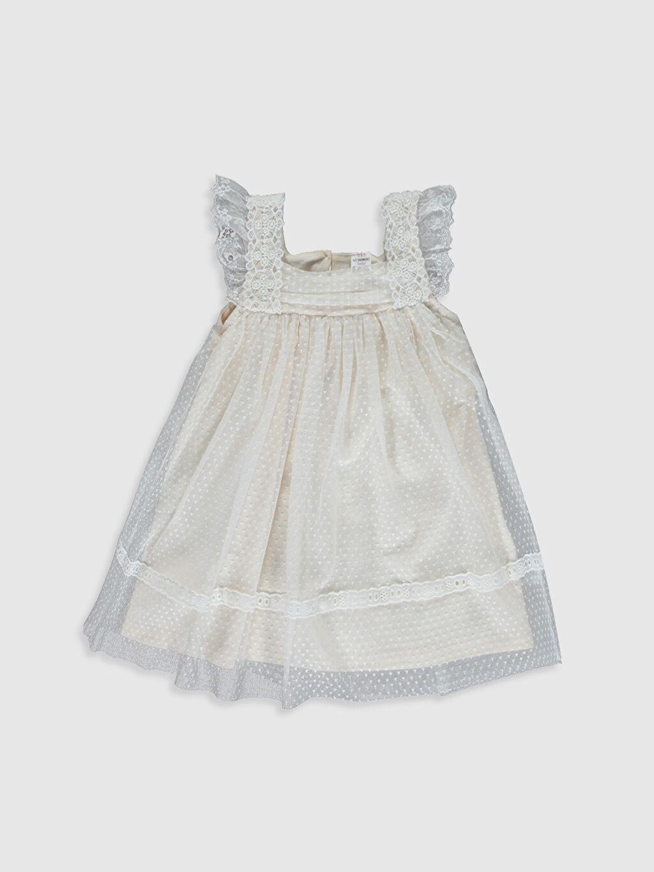 Ekru Kız Bebek Tül Detaylı Elbise 0S4605Z1 LC Waikiki