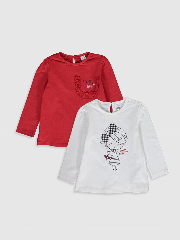 Kırmızı Kız Bebek Desenli Pamuklu Tişört 2'li 0S4667Z1 LC Waikiki