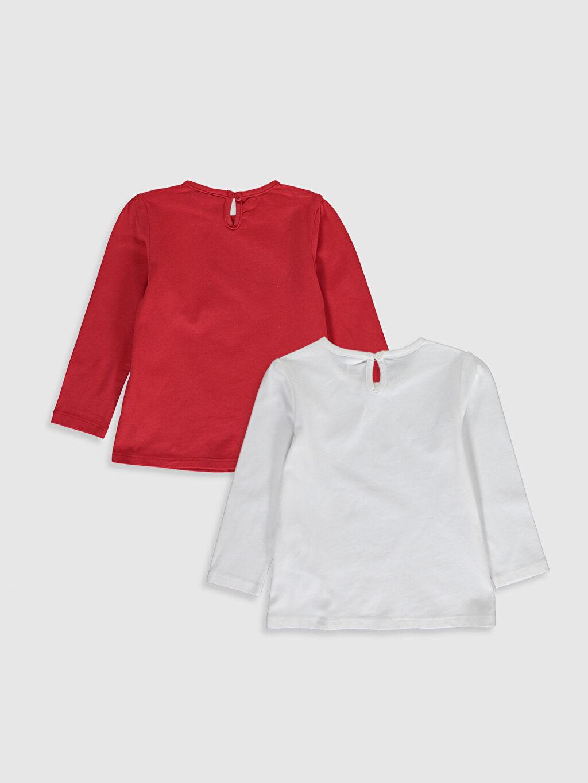 %100 Pamuk Baskılı Uzun Kol Tişört Bisiklet Yaka Kız Bebek Desenli Pamuklu Tişört 2'li