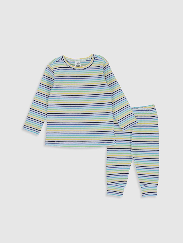 Beyaz Erkek Bebek Çizgili Pamuklu Pijama Takımı 0S4752Z1 LC Waikiki