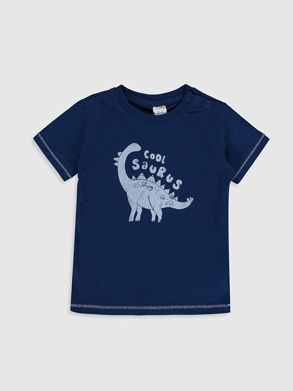 Lacivert Erkek Bebek Baskılı Pamuklu Tişört 0S4817Z1 LC Waikiki