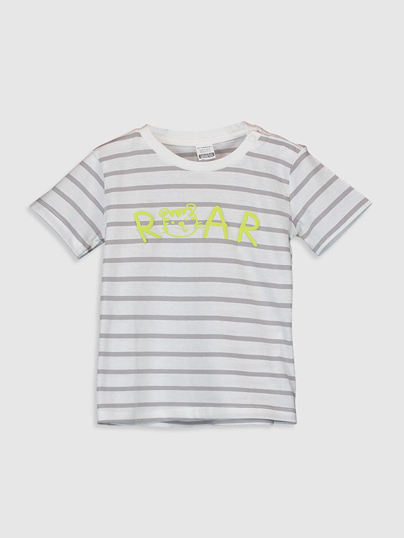 Beyaz Erkek Bebek Çizgili Tişört 0S4819Z1 LC Waikiki