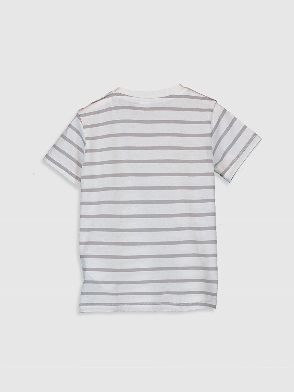 %100 Pamuk Normal Çizgili Kısa Kol Tişört Bisiklet Yaka Erkek Bebek Çizgili Tişört