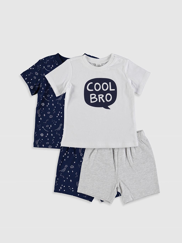 Beyaz Erkek Bebek Desenli Pijama Takımı 4'lü 0S4846Z1 LC Waikiki