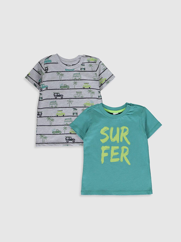 Yeşil Erkek Bebek Baskılı Pamuklu Tişört 2'li 0S4850Z1 LC Waikiki
