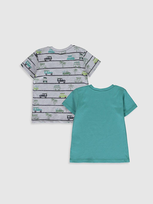 %100 Pamuk Normal Baskılı Kısa Kol Tişört Bisiklet Yaka Erkek Bebek Baskılı Pamuklu Tişört 2'li