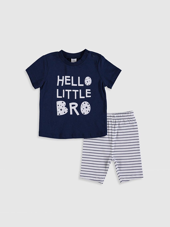 Lacivert Erkek Bebek Baskılı Pijama Takımı 0S4945Z1 LC Waikiki