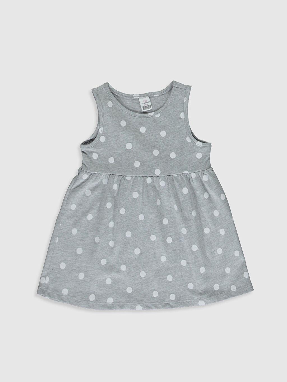 Gri Kız Bebek Desenli Elbise 0S5175Z1 LC Waikiki