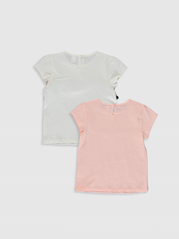 %100 Pamuk Baskılı Kısa Kol Tişört Bisiklet Yaka Kız Bebek Baskılı Pamuklu Tişört 2'li