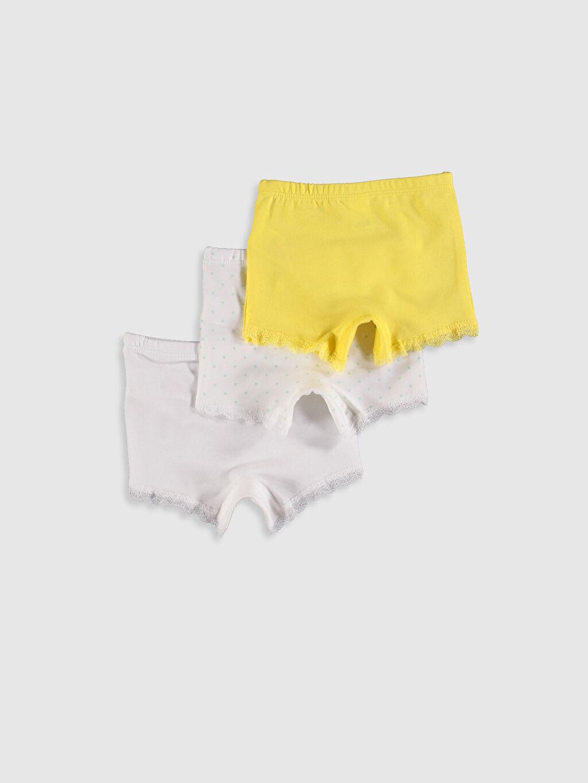 %96 Pamuk %4 Elastan Standart İç Giyim Alt Kız Bebek Pamuklu Boxer 3'lü