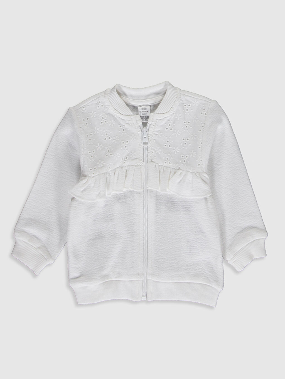 Beyaz Kız Bebek Fermuarlı Sweatshirt 0S5596Z1 LC Waikiki