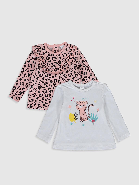 Ekru Kız Bebek Desenli Tişört 2'li 0S5616Z1 LC Waikiki