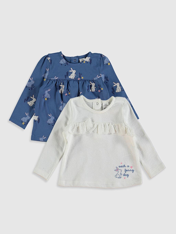 Ekru Kız Bebek Tişört 2'li 0S5630Z1 LC Waikiki