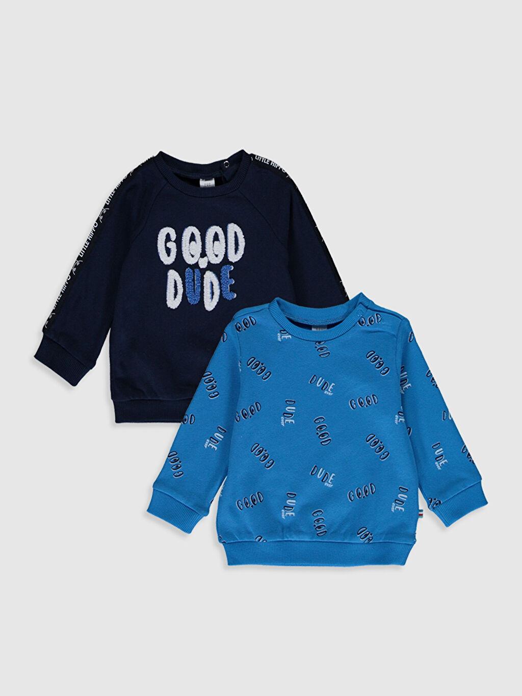 Lacivert Erkek Bebek Baskılı Pamuklu Tişört 2'li 0S5896Z1 LC Waikiki