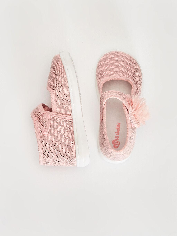 %0 Tekstil malzemeleri (%100 poliester)  Kız Bebek Çiçek Detaylı Babet Ayakkabı