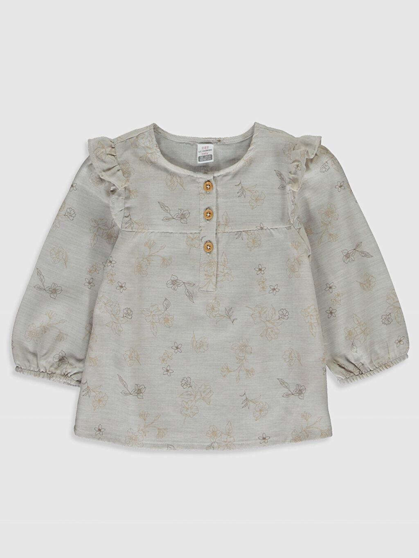 Ekru Kız Bebek Desenli Bluz 0S6329Z1 LC Waikiki