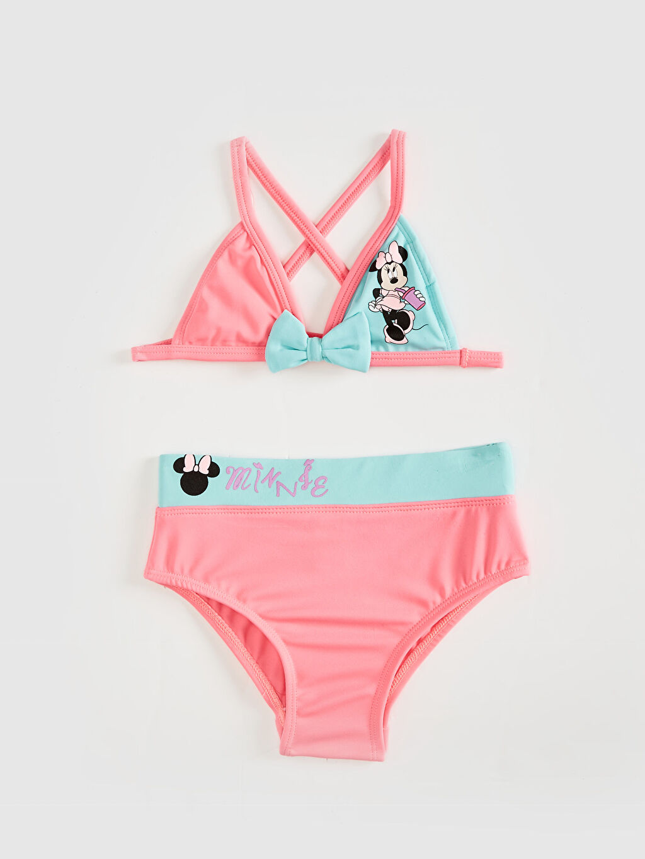 Turkuaz Kız Bebek Minnie Mouse Baskılı Bikini Takımı 0S6335Z1 LC Waikiki