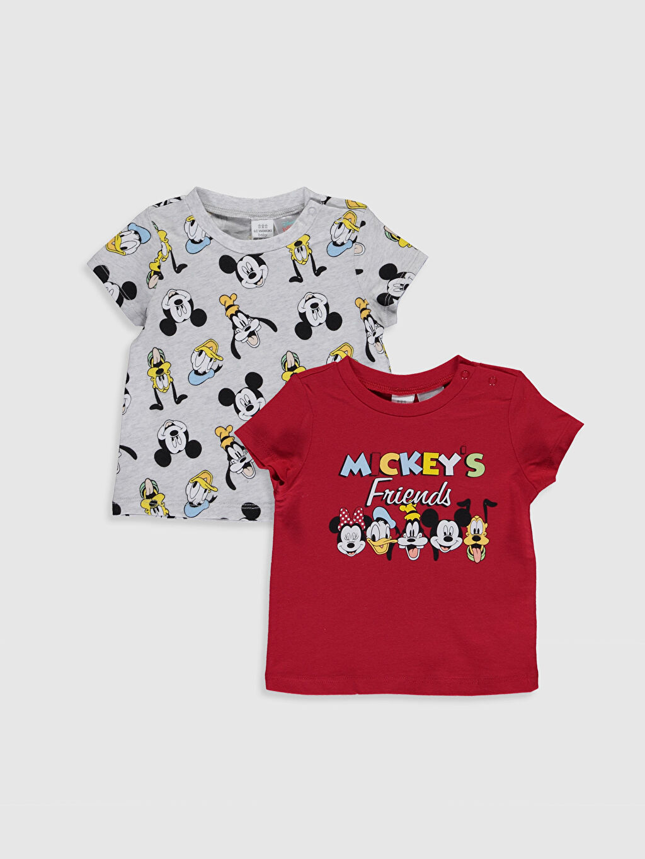 Ekru Erkek Bebek Disney Baskılı Pamuklu Tişört 2'li 0S6501Z1 LC Waikiki